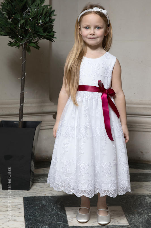 Girls White Lace Dress & Wine Satin Sash - Eva