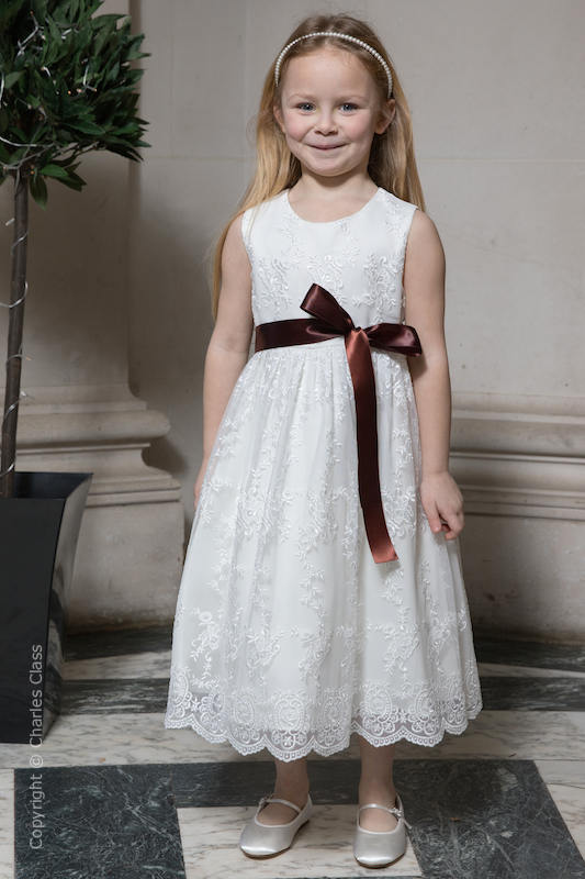 Girls Ivory Lace Dress & Brown Satin Sash - Eva