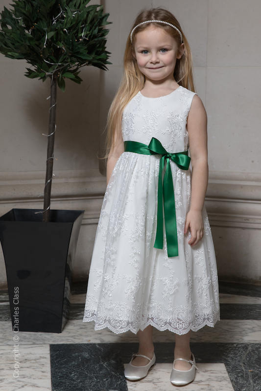 Girls Ivory Lace Dress & Emerald Green Satin Sash - Eva