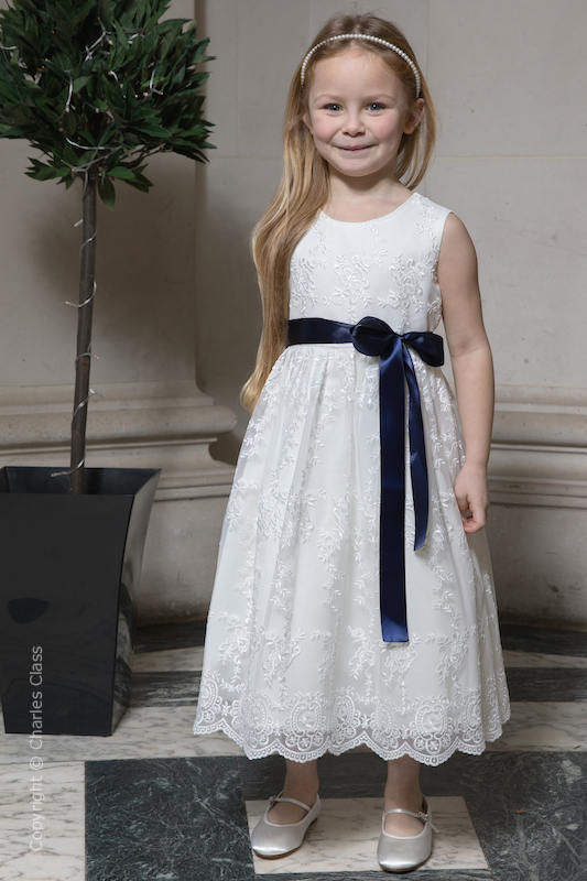 Girls Ivory Lace Dress & Navy Satin Sash - Eva