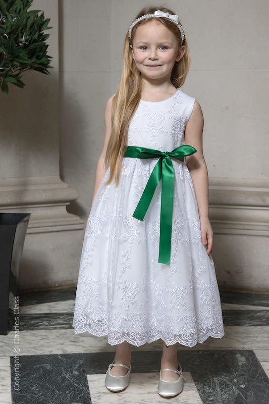 Girls White Lace Dress & Emerald Green Satin Sash - Eva