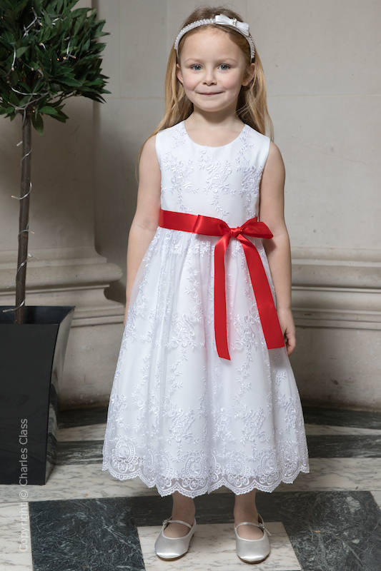 Girls White Lace Dress & Red Satin Sash - Eva