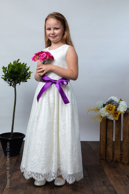 Girls Ivory Eyelash Lace Dress & Cadbury Purple Satin Sash - Harriet
