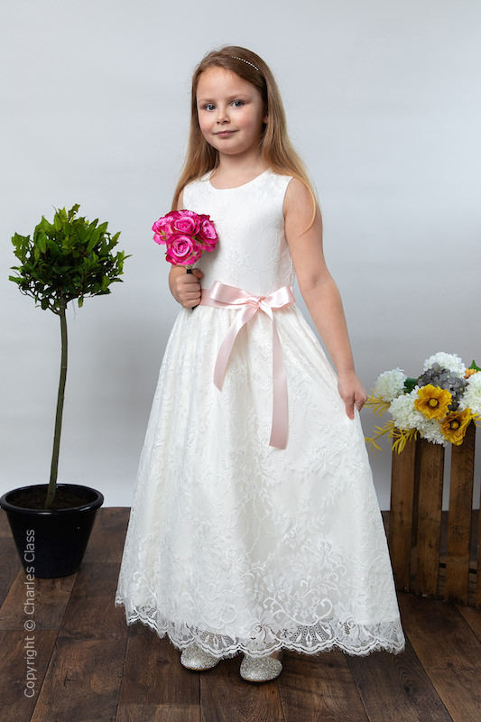 Girls Ivory Eyelash Lace Dress & Pale Pink Satin Sash - Harriet