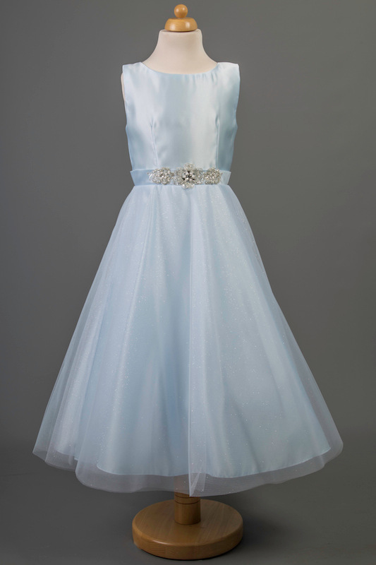 Busy B's Bridals Crystal Coloured Satin Dress - Lily