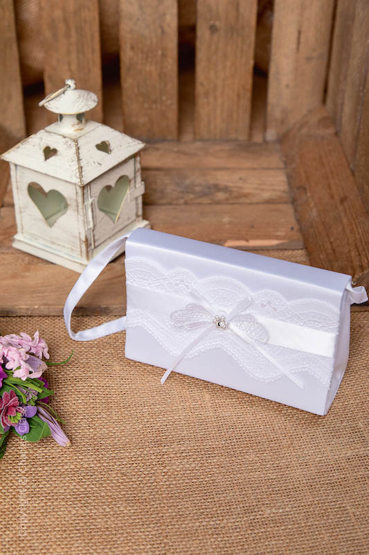 Peridot Girls White Lace Bow Satin Bag - Style Emma