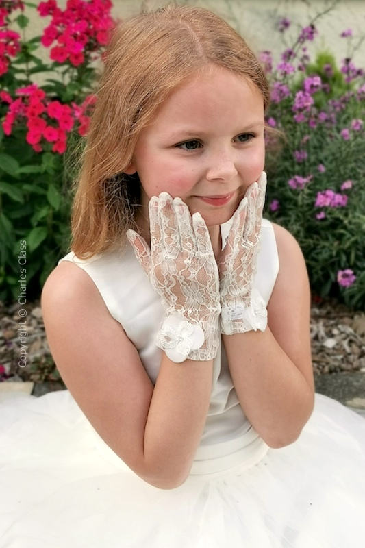 Peridot Girls Ivory Floral Lace Wedding Gloves - Style Alice