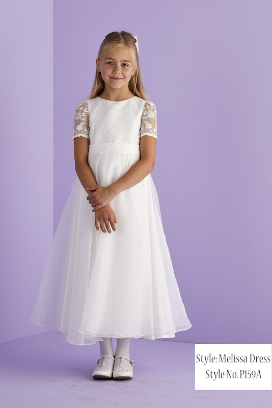Peridot Ivory or White Lace Organza Flower Girl Dress - Style Melissa