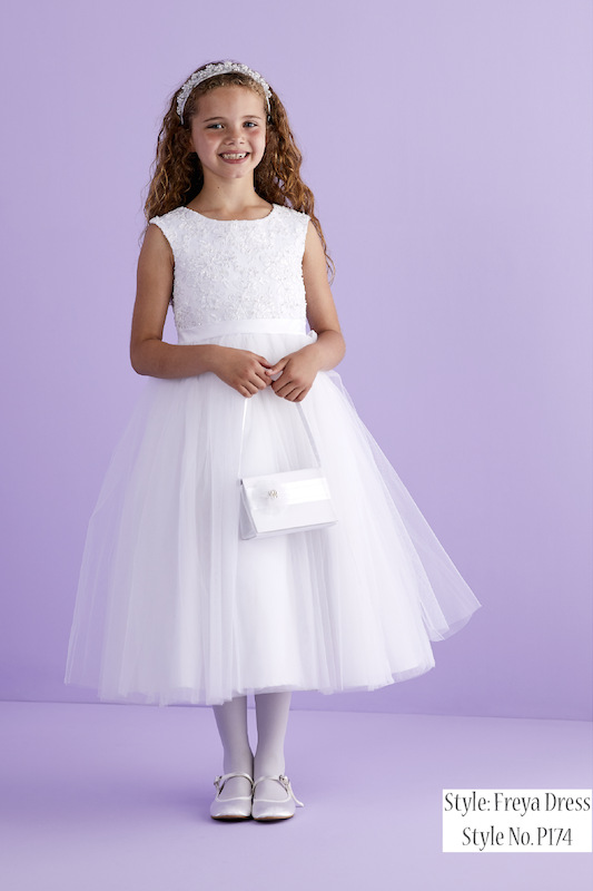 Peridot White Embroidered Ballerina Flower Girl Dress - Style Freya