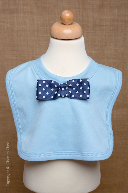Blue Wedding Bib with Navy Polka Dot Dickie Bow