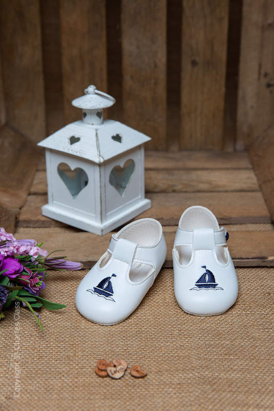 Baby Boys White with Navy Yacht T Bar Shoes by Baypods