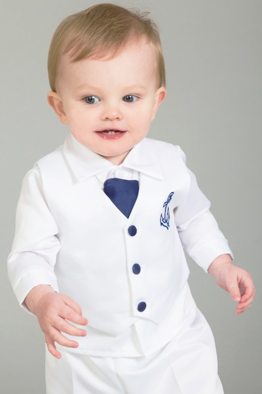 Baby Boys White with Navy Nautical Wedding Suit - Caspian