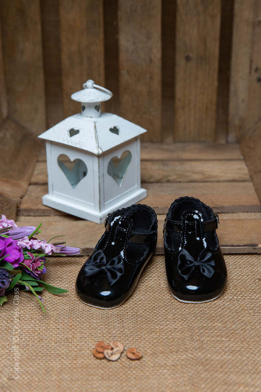 Baby Girls Black Patent T Bar Shoes by Baypods