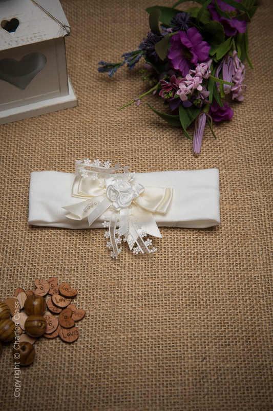 Ivory Cotton Baby Flower Girl Headband with Daisy Bow