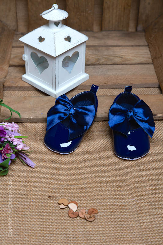 Baby Girls Navy Large Bow Shiny Patent Shoes