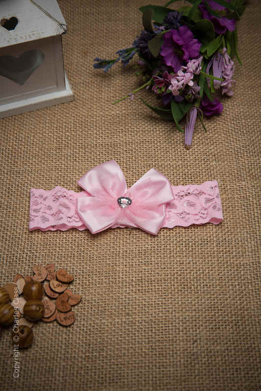 Baby Girls Pink Bow Lace Flower Girl Headband