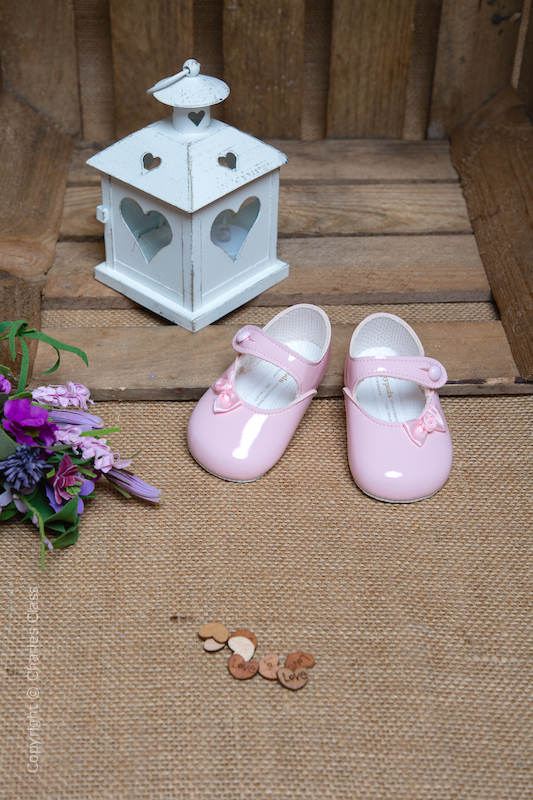 Baby Girls Pink Rosebud Bow Patent Shoes by Baypods