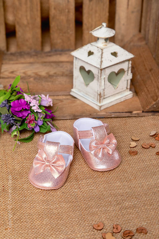 Baby Girls Pink Shimmer Bow Velcro Strap Shoes