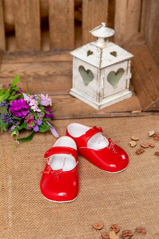 Baby Girls Red Polka Dot Bow Patent Shoes by Baypods
