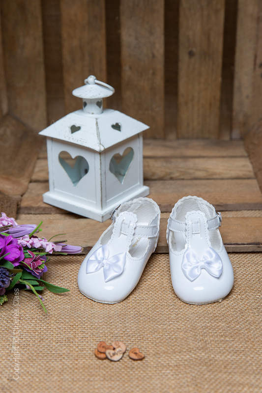 Baby Girls White Patent T Bar Shoes by Baypods