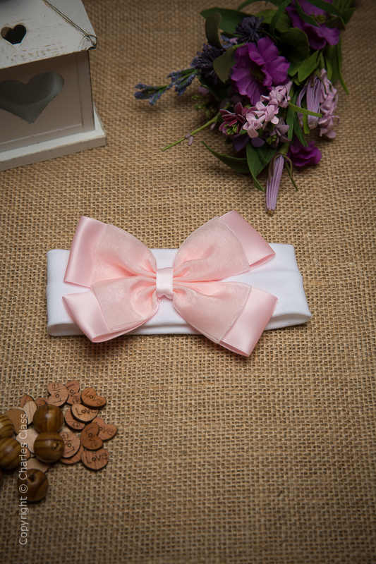 White Cotton Baby Flower Girl Headband with Pink Bow