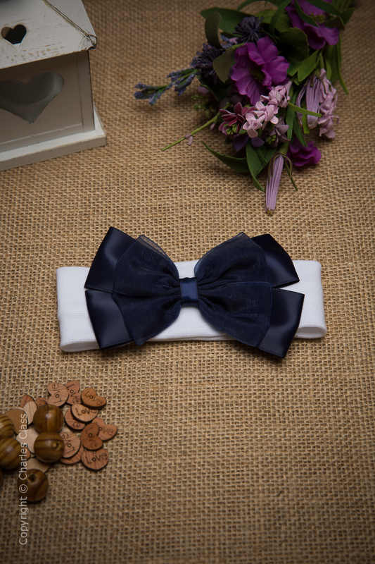 White Cotton Baby Flower Girl Headband with Navy Bow