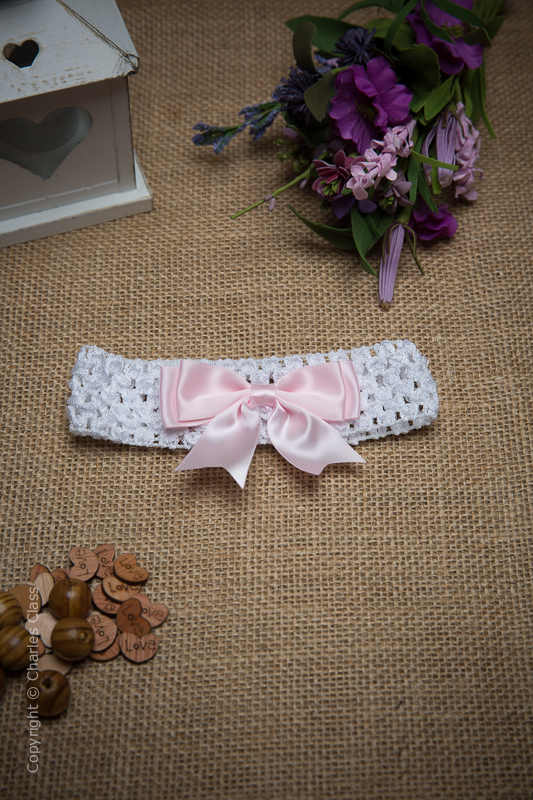 White Crochet Baby Flower Girl Headband with Pink Bow