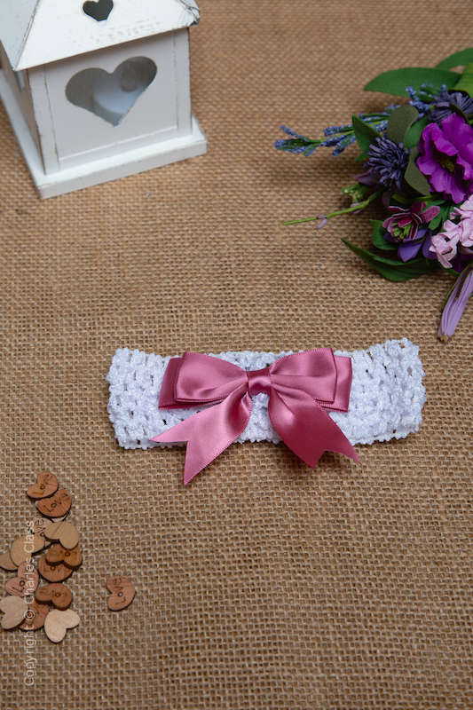 White Crochet Baby Flower Girl Headband with Dusky Pink Bow