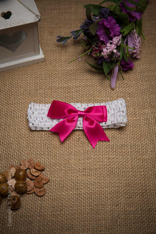 White Crochet Baby Flower Girl Headband with Hot Pink Bow
