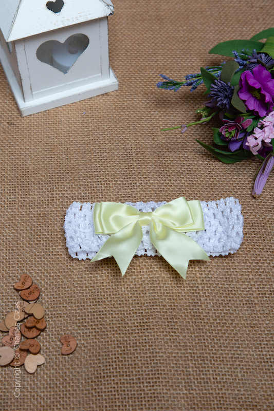 White Crochet Baby Flower Girl Headband with Lemon Bow