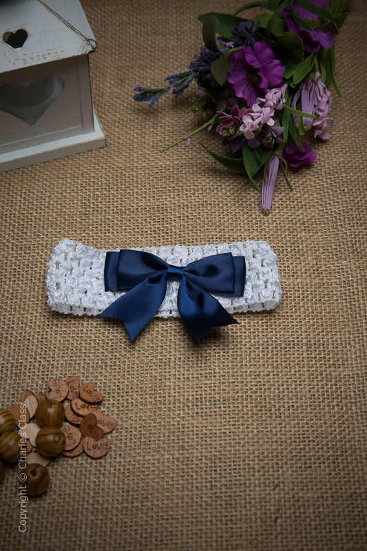 White Crochet Baby Flower Girl Headband with Navy Bow
