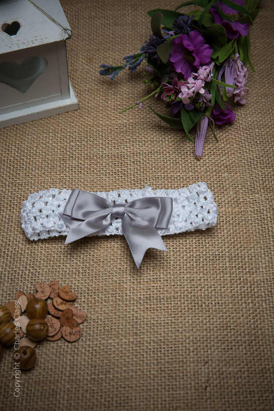 White Crochet Baby Flower Girl Headband with Silver Bow
