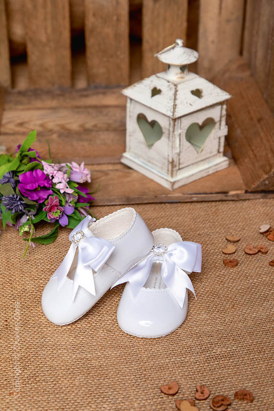 Baby Girls White Diamanté Bow Patent Shoes by Baypods