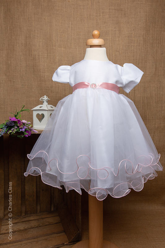 White Flower Girl Dress with Baby Pink Sash by Eva Rose