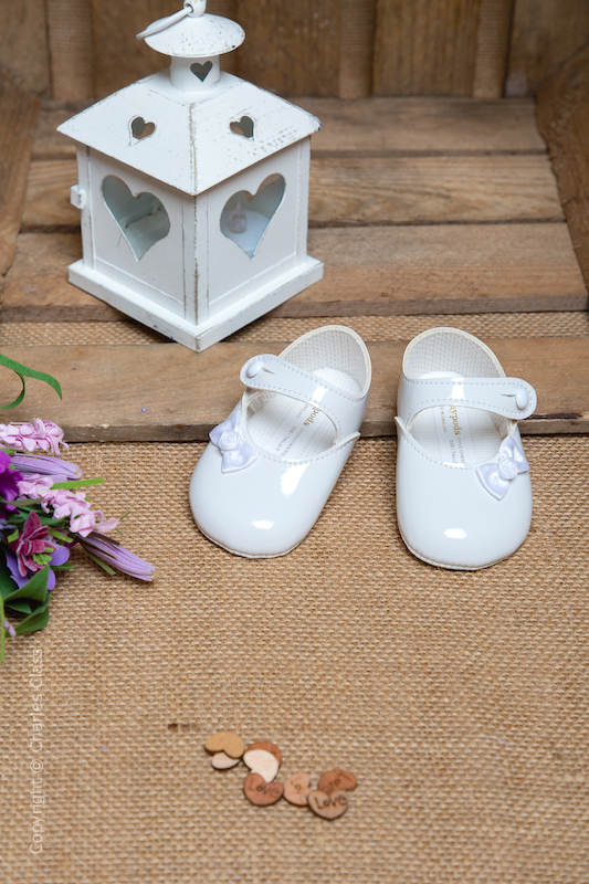 Baby Girls White Rosebud Bow Patent Shoes by Baypods