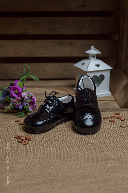 Boys Black Brogue Patent Leather Lace Up Shoes