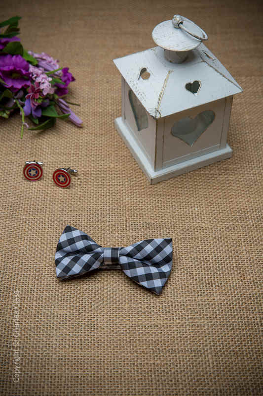 Boys Black Check Adjustable Cotton Dickie Bow