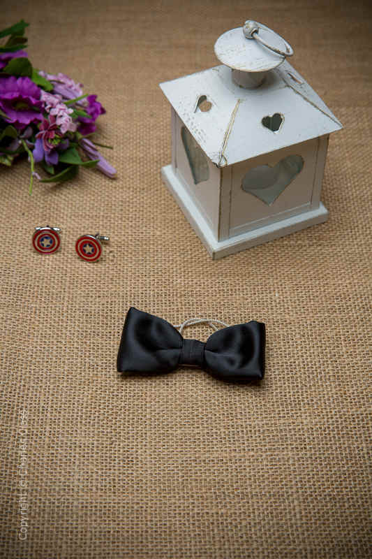 Boys Black Elasticated Satin Dickie Bow