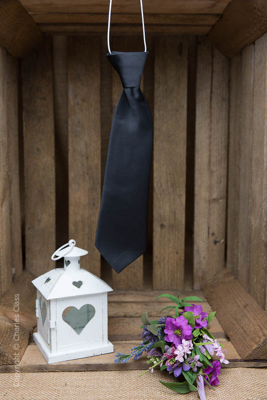 Boys Black Elasticated Satin Tie
