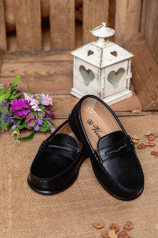 Boys Black Smart Leather Loafers