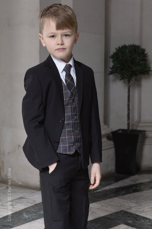 Boys Black Suit with Orange Check Waistcoat - Fred