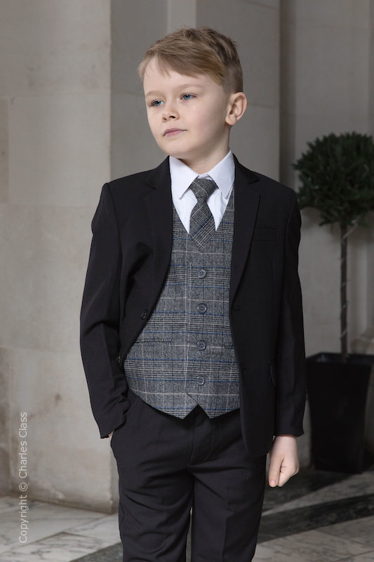 Boys Black Suit with Blue Check Tweed Waistcoat - Fred