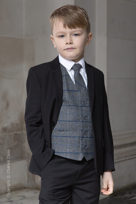Boys Black Suit with Blue Large Check Tweed Waistcoat - Fred