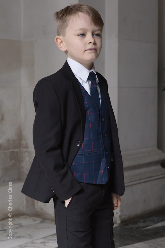 Boys Black Suit with Navy Check Waistcoat - Fred