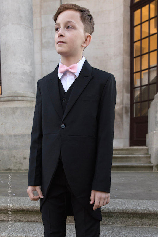 Boys Black Tail Coat Suit with Pale Pink Bow Tie - Ralph