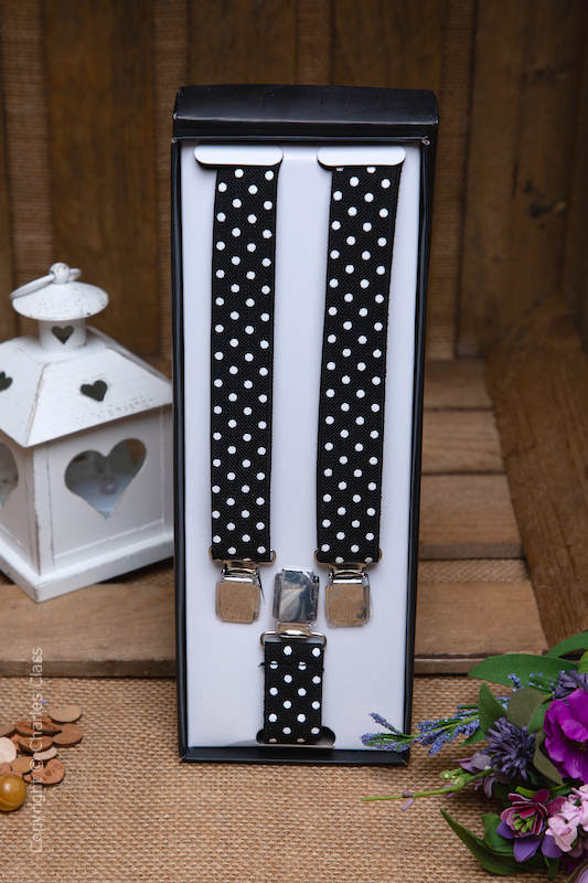 Boys Black & White Spot Adjustable Braces in Gift Box
