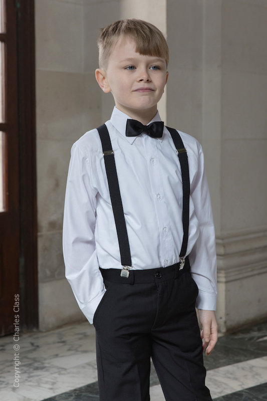 Boys Black Trouser Suit with Black Braces - Giles