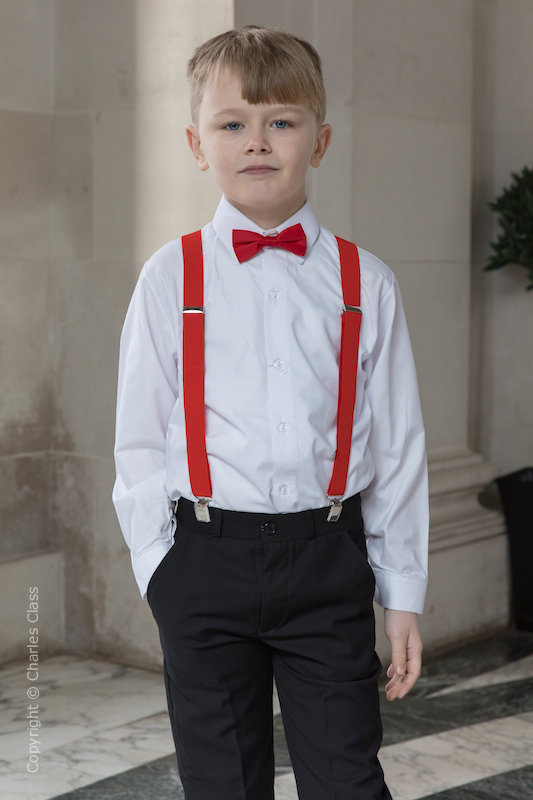 Boys Black Trouser Suit with Red Braces - Giles