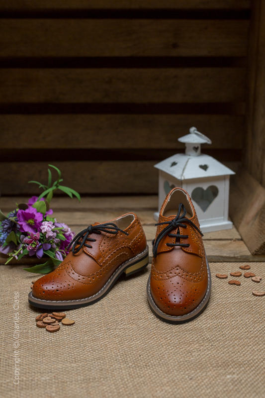 Boys Brown Brogue Leather Pointed Shoes