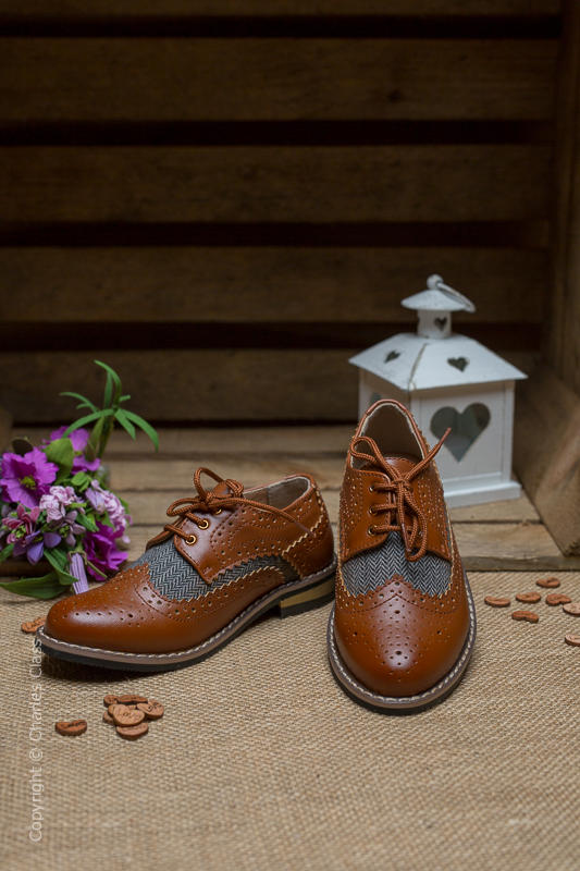 Boys Brown Tweed Brogue Leather Pointed Shoes